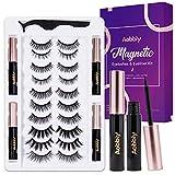 AOBBIY Magnetic Eyelashes and Eyeliner Set, 4 Tubes of Magnetic Eyeliner and 10 Pairs Magnetic Eyelashes Kit - Reusable False lashes -No Glue Need