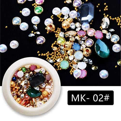 dyudyrujdtry Ingenious 1 Box 2019 Nieuwe Nagel Sieraden Parel Strass Kristallen Edelstenen Platte Boor Glas Diamant Gemengde Legering Nagel Art Ornamenten in fijne stijl MK-02