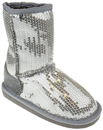 Pom-016KM Little Girls Sequin Slip On Shearling Boots Silver 2