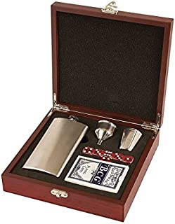 Flask Set | Comes in Presentation Box (Stainless Steel/Rosewood Box, 1)