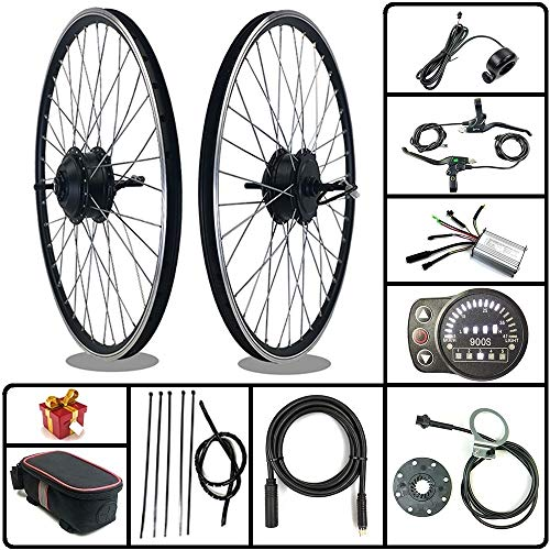 SCHUCK Electric Bike Modification kit is Suitable for 36V/48V 500W 16'/20'/24'/26'/27.5'/28'/29'/700C Rear-Rotate Motor with KT-LED900S Display (48V 350W 26inch)