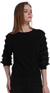 Womens Fringe Lantern Sleeve Sweater Crewneck Knit...