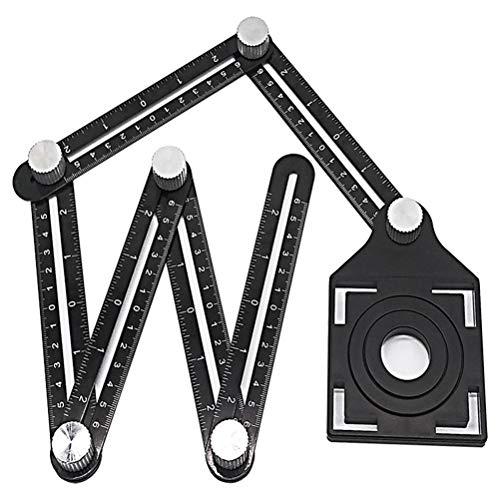 RongWang Multi-ángulo de la Regla de medición de ángulos Ajustables de 6 Caras del azulejo del Piso Regla Agujero localizador Universal de Cristal de la Madera Perforadora (Color : White)