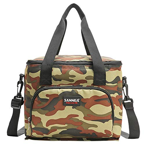 IvyH Insulated Double-Layer Lunch Bag with Shoulder Strap, Leakproof Cooler Bag, 10L Lunch Box for Travel/Office/Picnic(Camouflage)