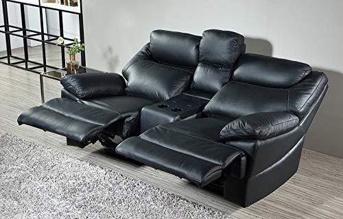 Mapo Möbel Elektrisches Ledersofa Kinosofa mit Bluetooth-Stereo-Lautsprechern und induktivem Laden 3581ee-Cup-2-S