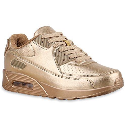 stiefelparadies Damen Sport Lack Sneakers Schnürer Sneaker Low Lauf Runners Neon Leder-Optik CamouflageGlitzer Schuhe 135844 Gold All 39 Flandell