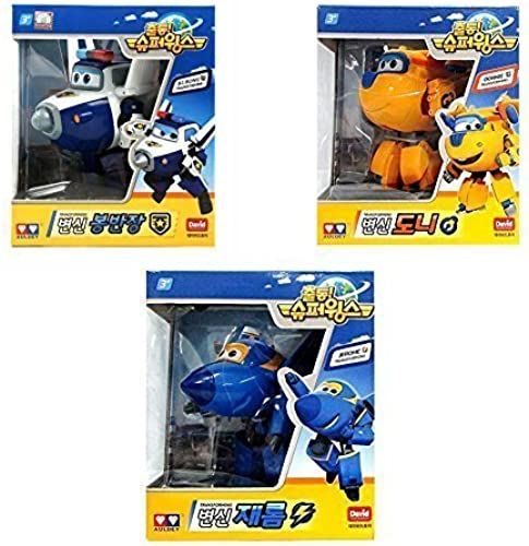 [3set] Super Wings Bj.bong + Jerome + Donnie Transforming Planes series Toy Funny Flux TV Animation Character by Super Wings