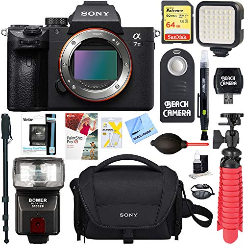 Sony a7III 24.2MP Full Frame Mirrorless Interchangeable Lens Camera Body + 64GB Memory & Flash a7III Accessory Bundle