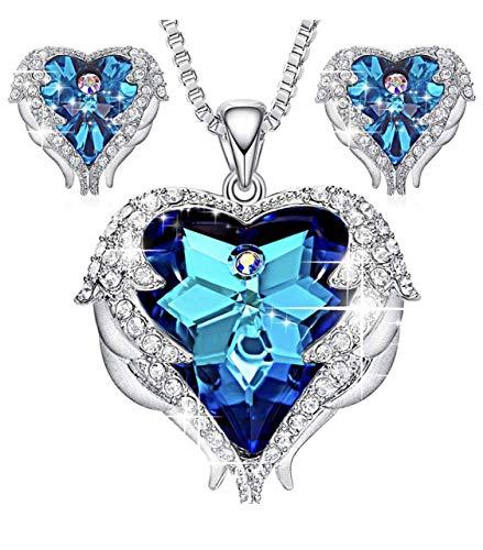 天使の羽 ネックレス 女性用 スワロフスキー元素クリスタルを採用 ハートのデザイン 人気ペンダント ギフトボックス付き パープル (セット-ブルー)