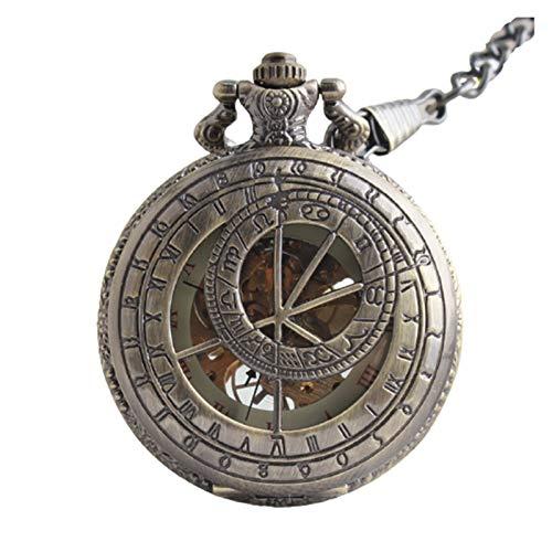 LiQinKeJi8 Reloj de bolsillo mecánico viejo reloj de bolsillo con números romanos tallados, relojes con cadena colgante, regalo para hombres y mujeres (color: como se muestra en la imagen).