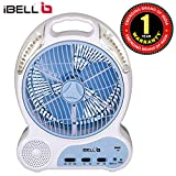 iBELL RF0920 Rechargeable Table Fan with 20 LED Night Light, 9-inch Leaf, High Speed (White & Blue) and USB Port