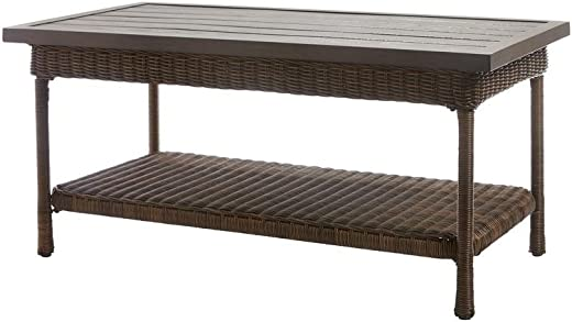 B079J59D72✅Hampton Bay Beacon Park Wicker Outdoor Coffee Table with Slat Top