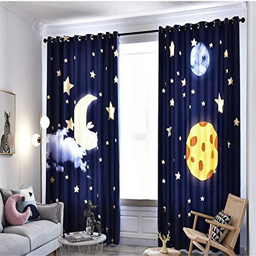 CURTAINSCSR 3D gedruckte Vorhang Nachtblauer Sternenhimmel Thermovorhang Verdunkelungsgardine Lichtundurchlässige Vorhang mit Ösen für Schlafzimmer Wohnzimmer Geräuschreduzierung 2Panel75x166cm