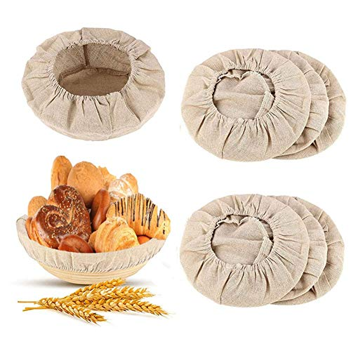 HJZXC 6 Packs Round Bread Proofing Basket Cloth Liner, Linen Liner Cloth for Bread Basket for Bakery Home Baking Professional and Kitchen Baking Bread Tools (10 Inch)