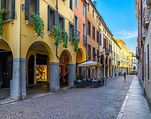 MQPPE Cozy Cityscape DIY Jigsaw Puzzles, Old Street with Tables of Trattoria in Padua Veneto Italy Wooden Puzzles for Adults 300 Pieces, Best Family Decompression Games for Kids, 10 x 15 Inches