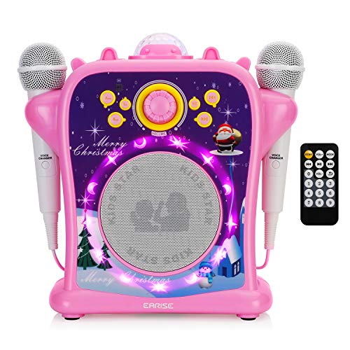 EARISE T29 Karaoke Machine for Kids Girls with Voice Changer, Portable PA Bluetooth Speaker Singing Machine with 2 Wired Microphones, LED Disco Lights, Recording, Supports USB/AUX
