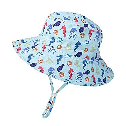 Sombrero de Sol para Bebé Niña Ajustable Gorro Verano de Pescador para Niños ala Ancha Sombrero Bob Protección Solar UPF 50 para Exteriores Natación Playa Piscina (Azul Caballo de mar)