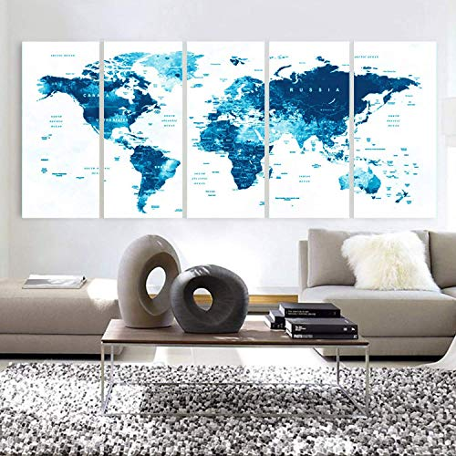 Original by BoxColors XLARGE 30'x 70' 5 Panels 30'x14' Ea Art Canvas Print Watercolor Map World Countries Cities Push Pin Travel Wall color Blue decor Home interior (framed 1.5' depth)