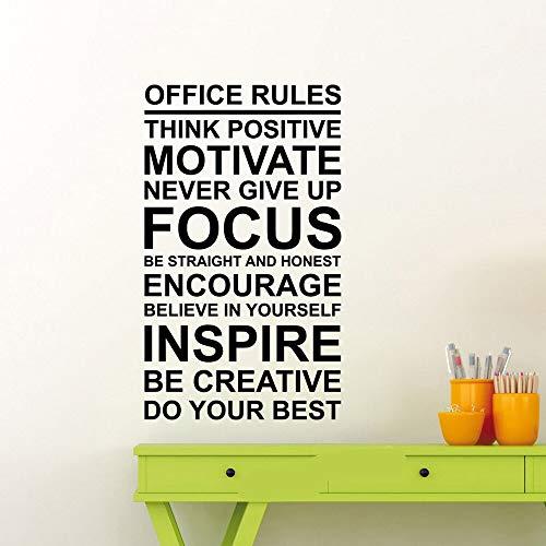 Reglas de la oficina cartel calcomanía de pared motivación de trabajo signo de cita pensar atención positiva al trabajo en equipo etiqueta de vinilo art deco etiqueta de la pared A2 42X71cm