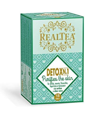 Realtea Detox N. 1 Purifies The Skin - Infuso con tè verde, menta, finocchio, liquirizia,...