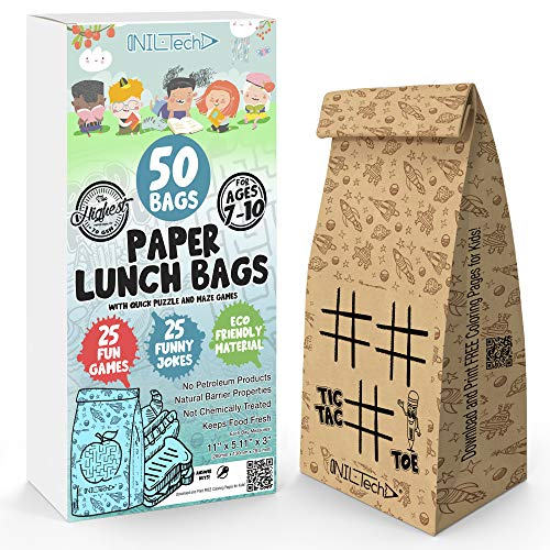 Paper Lunch Bags 50 pcs - Gift your kids a smile, printed fun games and jokes on each bag. Safe, ECO friendly for lunch and snack.