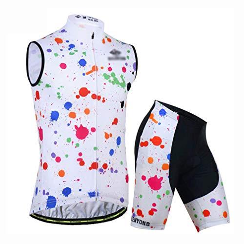 YXX MTB Herren Radtrikot Set Große Größe Trikot Ärmelloses Fahrradbekleidung Set Mit Shorts Mit 3D Sitzpolster MTB, Rennrad,Weiß,XS