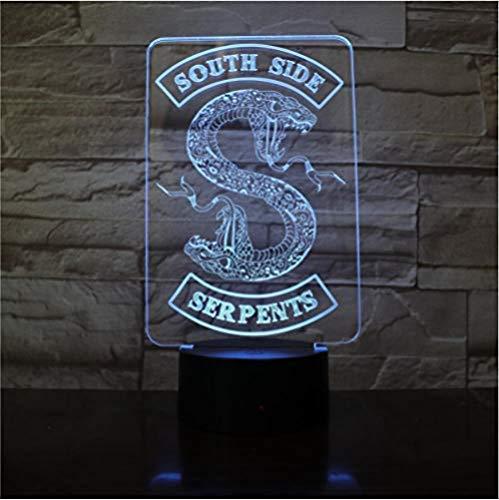 Preisvergleich Produktbild Suwhao 3D Led Nachtlicht Southside Schlangen Dekor Zeichen Dinge Zubehör Tischlampe Farbe Geschenk