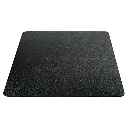 "Deflecto Non-studded EconoMat Chair Mat, for Hard Floors, Straight Edge, Black, 46"" x 60"""