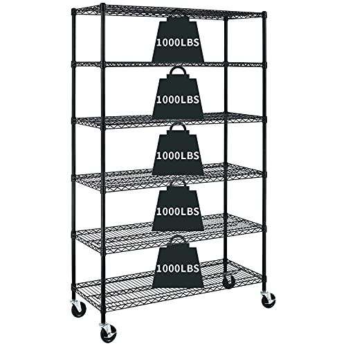 Garage Shelving, 78'x48'x18' Metal Shelves 6 Tier Wire Shelving Unit Adjustable Heavy Duty Sturdy Steel Shelving Rolling Cart with Casters for Pantry Garage Kitchen (Black)
