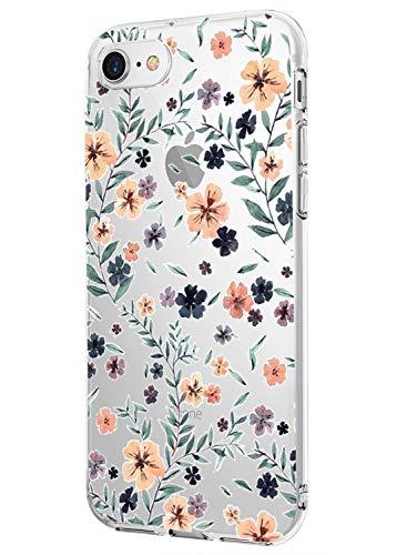 Caler Funda Compatible para iPhone 7 iPhone 8 Case,Suave TPU Gel Silicona Ultra-Delgado Ligera Anti-rasguños Dibujos Patrones Imagen Lindo Carcasa para iPhone 7 iPhone 8 (Flores Silvestres)