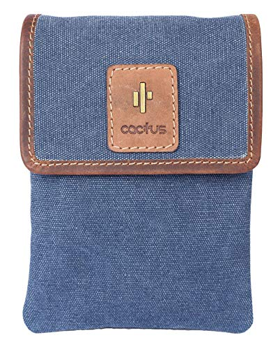 Cactus Canvas and Distressed Oiled Leather Small Belt/Shoulder Bag 837_81 Denim