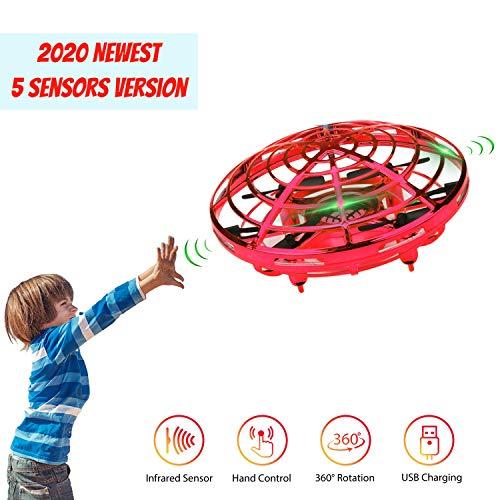 Lumsburry UFO Mini Drohne, Kinderspielzeug RC Quadcopter Infrarot-Induktions-für Kinder Jungen Mädchen Indoor Outdoor Funny Toy (Rot)