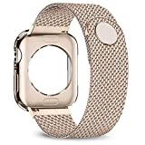 jwacct Compatible for Apple Watch Band with Screen Protector 38mm 40mm 42mm 44mm, Soft TPU Frame Case Cover Bumper Compatible for iwatch Series 1/2/3/4/5 Gold