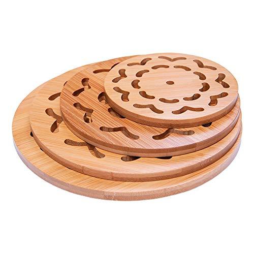 G-LIKE Naturbambus Untersetzer Tischset Platzset - Küche Arbeitsplatte Esstisch Dekorativ Hitzebeständig Schutz Unterlage für Töpfe Teller Schalen Pfannen Schüsseln Essgeschirr - 4er Set (Naturfarbe)