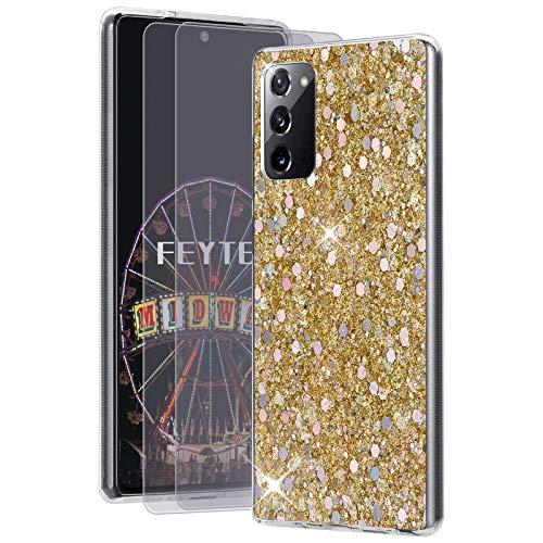 Feyten Kompatibel mit Galaxy Note 20 5G / 4G Hülle mit HD-Schutzfolie [2 Stück],Bling Glänzend Glitzer Weich TPU Silikon Etui Cover Schale Schutzhülle für Samsung Galaxy Note 20 5G / 4G (Gold)