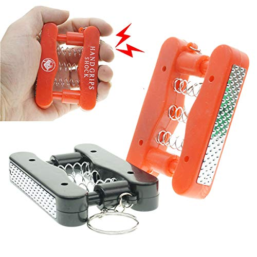 Cooplay 1X Shocking Fake Grip Strength Device Model Keychain Prank Toy Joke Funny Gadget Electric Shock Tricky Gag Veigar April Fools Day for Halloween Party