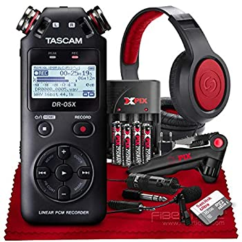 Tascam DR-05X 2-Input / 2-Track Portable Stereo Handheld Digital Audio Recorder w/USB Audio Interface  Black + XPIX Lav Microphone + 16GB + Microphone + Premium Accessories Bundle