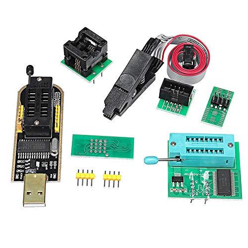 Kit de módulo programador USB EPROM Flash BIOS con Ch341A + Soic8 Clip + Adaptador de 1.8V + Adaptador Soic8, apto para flash de la serie 24 25 (como se muestra)