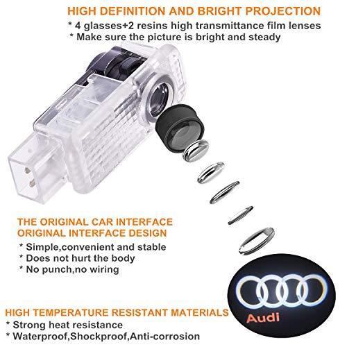Audi car Accessories Door Logo Led Light Car Door Projector Lights Ghost Shadow Light Audi Puddle Emblem Welcome Lights Reflector for Audi A1 A3 A4 A5 A6 A7 A8 Q3 Q7 R8 TT Auto Accessories Part 4 PCS