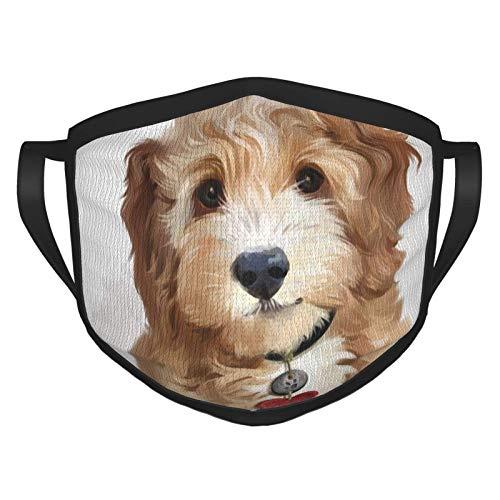 Máscara facial mullida amarilla cachorro acuarela pintura reutilizable lavable hombres mujeres paño polvo cubierta cubierta escudo pasamontañas deportes al aire libre negro