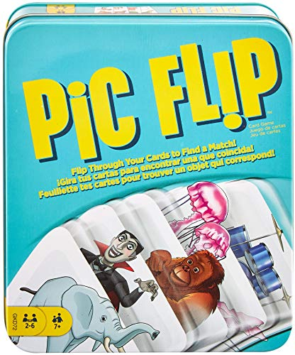 PIC FLIP Card Matching Game with 110 Cards in a Decorative Tin, Makes a Great Gift for 7 Year Olds and Up