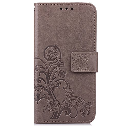 EMAXELERS Huawei Honor 5X Hülle Lucky Clover Schutzhülle Ledertasche Lederhülle Handyhülle Wallet Case Flip Etui Tasche Handytasche mit Standfunktion Karteneinschub,Gray Clover - 2