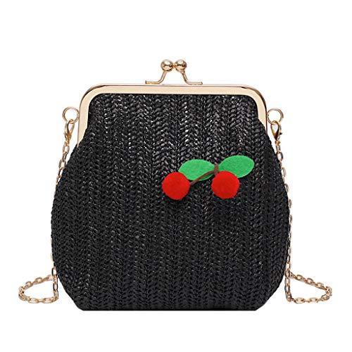 SUGEER Weben Damen Wild Handtasche Mode Neu Umhängetasche Kirsche Umhängetasche Persönlichkeit Freizeit Mode tasche Kleine tasche