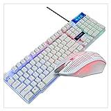 Pubblicazione Set da 2 Pezzi Tastiera E Mouse Combo Gaming Meccanico A Colori Retroilluminazione per Respirazione 104 Tasti Accessori per Mouse da Gioco per Computer (Color : White)