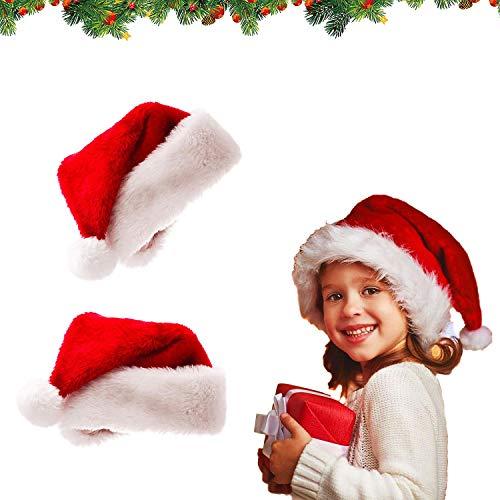 2 Gorro de Papá Noel Sombrero de Santa Gorro de Navidad para Niños Fiesta de Navidad Gorro Gorro de Papá Noel de Navidad Comodidad en Terciopelo Unisex Piel Clásica Engrosada
