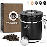 OPUX Coffee Canister | Stainless Steel Airtight Coffee Container with Scoop | Coffee Storage for Coffee Beans, Ground, Tea with Co2 Valve and Date Tracker | Coffee Jar (16 oz Matte Black)