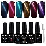 Allenbelle Smalto Semipermanente Magnetico Nail Polish UV LED Gel Unghie 7.3ml (Kit di 6 pcs 7.3ML/pc) 001