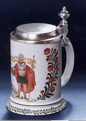 Zimmermann Bierseidel Bier-Krug Damenkrug mit Zinndeckel St. Florian 0,3l