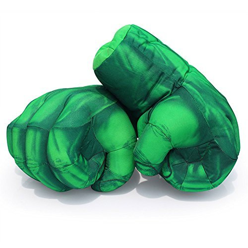 The Hulk Boxing Gloves Smash Hands Fists Incredible Hulk Soft Plush Toys Cosplay Superhero Costume Gloves, Birthday Gifts for Kids, Teens, Girls Boys. (1 Pair, Green)