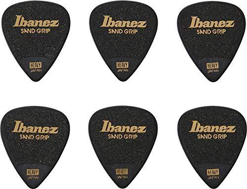 IBANEZ Grip Wizard Series Sand Grip Flat Pick - schwarz 6 Stück (PPA14HSG-BK)